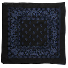 Load image into Gallery viewer, black and blue paisley bandana whole view