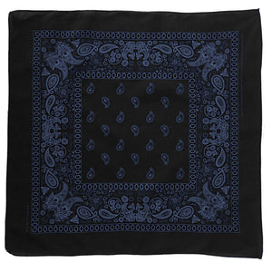 black and blue paisley bandana whole view