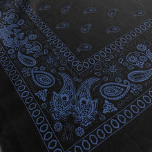 Load image into Gallery viewer, black bandana with blue paisley print angle view