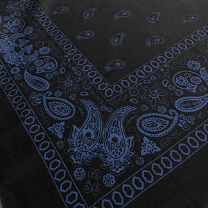 black bandana with blue paisley print angle view