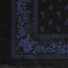 Load image into Gallery viewer, blue and black paisley and floral print bandana corner view