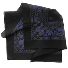 Load image into Gallery viewer, black and blue bandana with floral and paisley print folded to see print on both sides