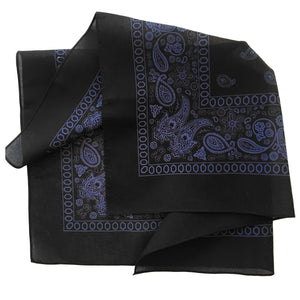 black and blue bandana with floral and paisley print folded to see print on both sides