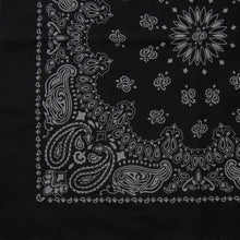 Load image into Gallery viewer, Black bandana with gray print partial view