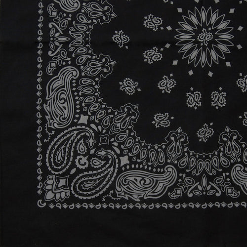 Black bandana with gray print partial view