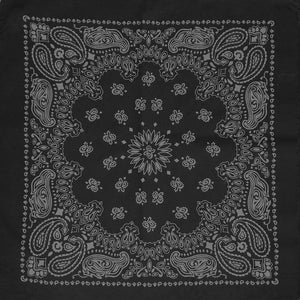 Black bandana with gray paisley print whole pattern view