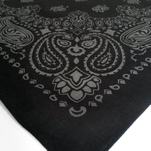 Load image into Gallery viewer, Black and gray paisley bandana shown at an angle