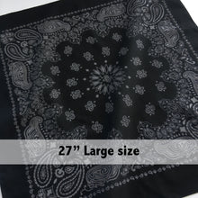 Load image into Gallery viewer, Large Black & Gray Cowboy Bandana