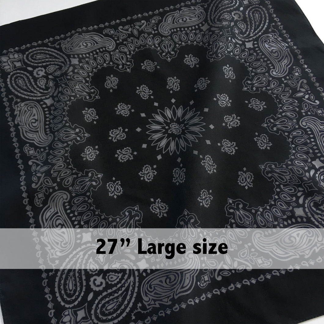 Large Black & Gray Cowboy Bandana