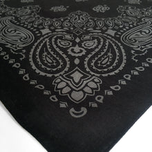 Load image into Gallery viewer, black and gray bandana large size close view of paisleys