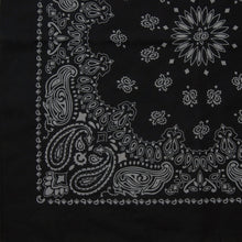 Load image into Gallery viewer, large black and gray paisley cowboy bandana partial print view