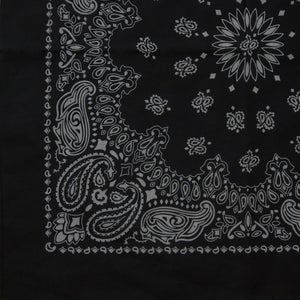 large black and gray paisley cowboy bandana partial print view