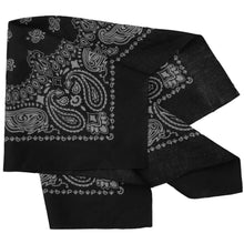 Load image into Gallery viewer, black bandana with gray paisley print folded