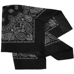 black bandana with gray paisley print folded