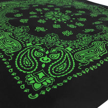 Load image into Gallery viewer, Black and green bandana print shown at an angle