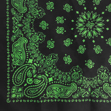 Load image into Gallery viewer, Black bandana witih green paisley quarter view