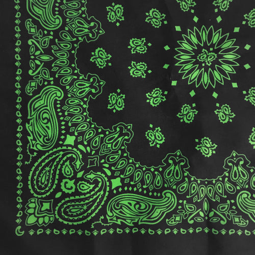 Black bandana witih green paisley quarter view