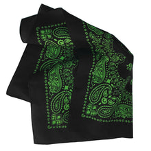 Load image into Gallery viewer, Black and green bandana paisley print folded