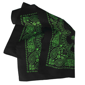 Black and green bandana paisley print folded