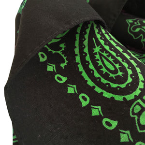 Green printed bandana close up of edge