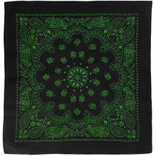 Load image into Gallery viewer, Black & Green Cowboy Bandana
