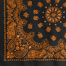 Load image into Gallery viewer, Black and orange bandana 1/4 view