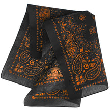 Load image into Gallery viewer, Black and orange bandana folded view