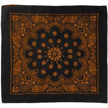 Load image into Gallery viewer, Black and orange bandana whole view