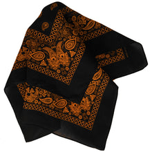 Load image into Gallery viewer, Black and orange bandana folded