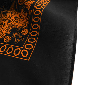 Black & Orange Floral Paisley Bandana