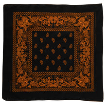 Load image into Gallery viewer, Black bandanna with orange floral and paisley print whole view