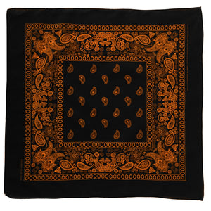 Black bandanna with orange floral and paisley print whole view