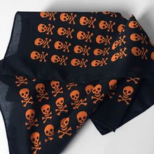 Load image into Gallery viewer, Skull & Crossbones Bandana with Orange Allover Print
