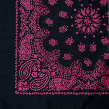 Load image into Gallery viewer, black and pink large bandana partial view close up of print