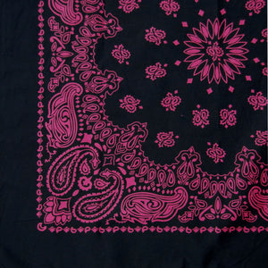 black and pink large bandana partial view close up of print