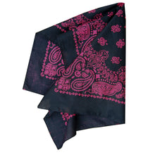 Load image into Gallery viewer, large black and hot pink bandana with double sided printing folded view