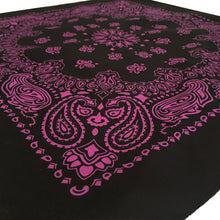 Load image into Gallery viewer, black and hot pink bandana shown at an angle