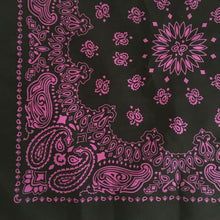 Load image into Gallery viewer, corner view of a black and pink cowboy bandana