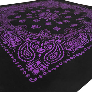 Black and purple bandana shown at an angle