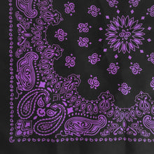 Load image into Gallery viewer, Black and purple paisley bandana print closeup