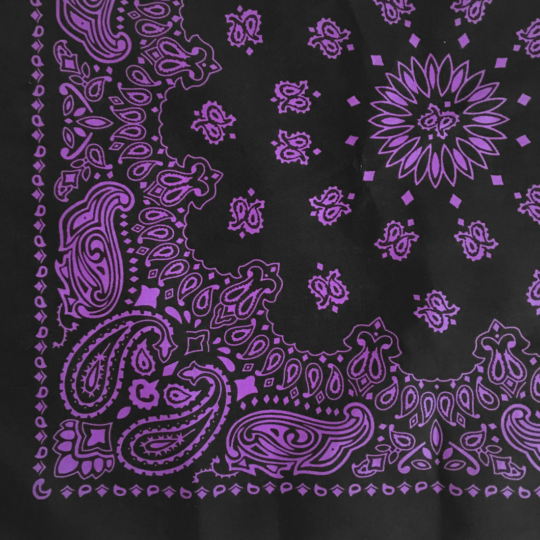 Black and purple paisley bandana print closeup