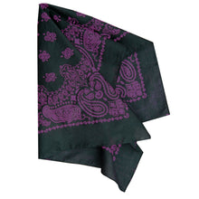 Load image into Gallery viewer, black and purple large size paisley bandana folded