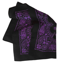 Load image into Gallery viewer, Black and purple bandana folded