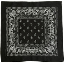 Load image into Gallery viewer, Black & White Floral Paisley Bandana