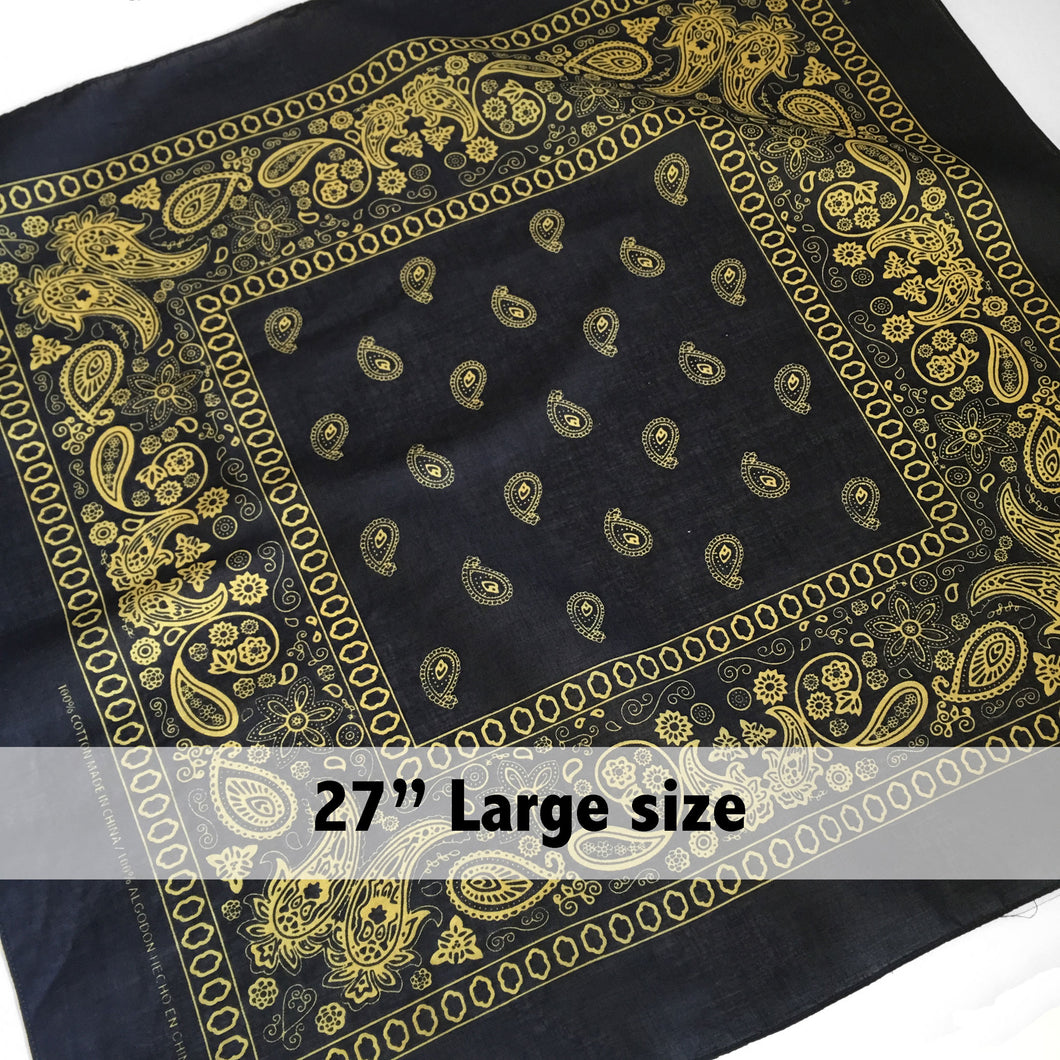 Large Black & Yellow Floral Paisley Bandana