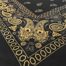 Load image into Gallery viewer, Black and yellow floral paisley bandana angle view