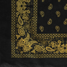 Load image into Gallery viewer, Black and yellow bandana with paisley and floral print partial pattern