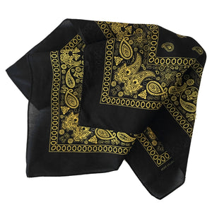 Yellow paisley bandana with floral print and black ground folded