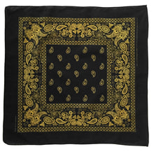Load image into Gallery viewer, Black and yellow paisley bandana whole print