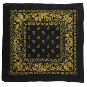 Black and yellow paisley bandana whole print